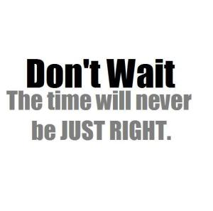 Quote. Do not wait, the time will never be just right.